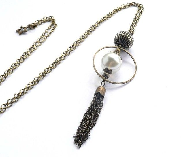 Sautoir avec anneau, grosse perle ivoire bronze