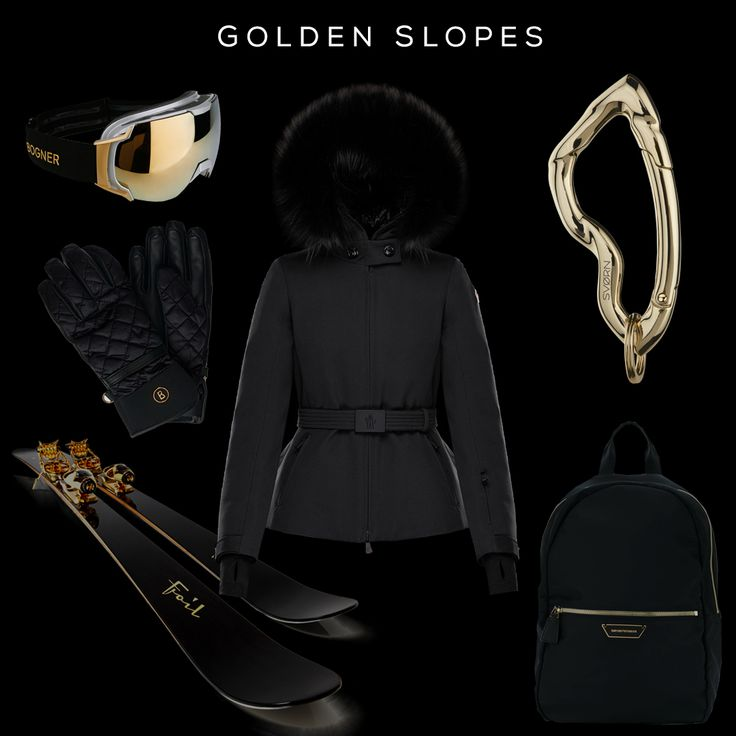 GOLDEN SLOPES Clockwise (from top left corner): Just-B Goggles by BOGNER, Bauges Jacket by MONCLER, Arcus carabiner keychain by SVORN, Y3l013ylg9a 80001 Backpack by EMPORIO ARMANI, Oro-Nero Skis by FOIL SKIS, Cleo Ski Gloves by BOGNER  #ski #athleisure #keychain #carabiner #design #accessories #style #ootd #beautiful #fashionkilla #jewelry #golden #gold #trendsetter #moncler #svorn #musthave #instafashion #streetfashion #trendy #apresski #snow #fashion #streetstyle #backpack #wintersport…