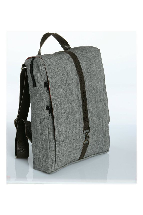 "Own!  Grey Cotton 15"" Laptop Backpack  - Vegan Laptop Backpack - Roxanna Laptop Bag, $85.00"
