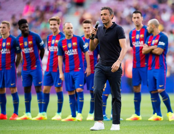 Head coach Luis Enrique Martinez of FC Barcelona speaks during the team official presentation ahead of the Joan Gamper trophy match between FC Barcelona and UC Sampdoria at Camp Nou on August 10, 2016 in Barcelona, Catalonia.