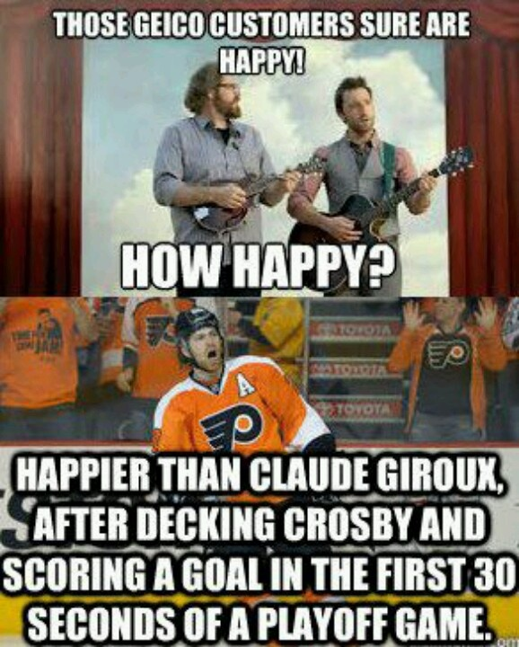 ...happier than claude giroux after decking crosby and scoring a goal in the first 30 seconds of a playoff game.