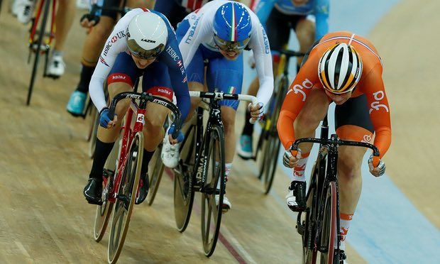 April 13 2017 - Elinor Barker (left) wins silver in the women's scratch race at UCI Cycling World Champs in Hong Kong