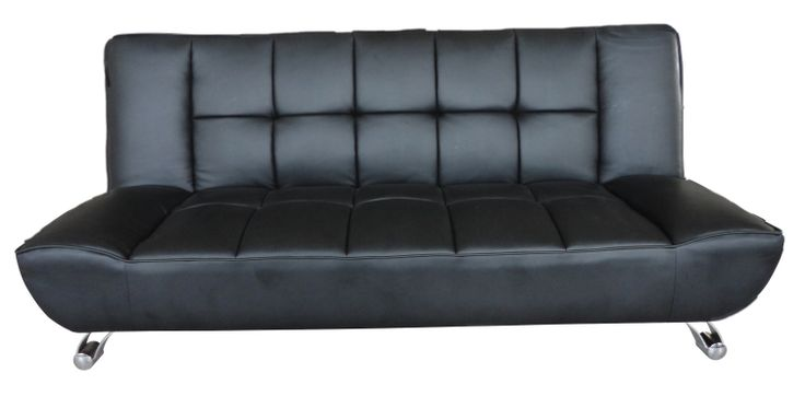 Vogue A contemporary, sofa bed, available in black or white faux leather, with curved chrome finish legs to give it a more expensive feel, this sofa easily transforms in to a double bed.  Available in: brown; black; white Overall Dimensions when assembled: Bed: L1850mm x W1100mm x H390mm (from floor to cushion seat's top) Sofa: L1850mm x W550mm x H930mm