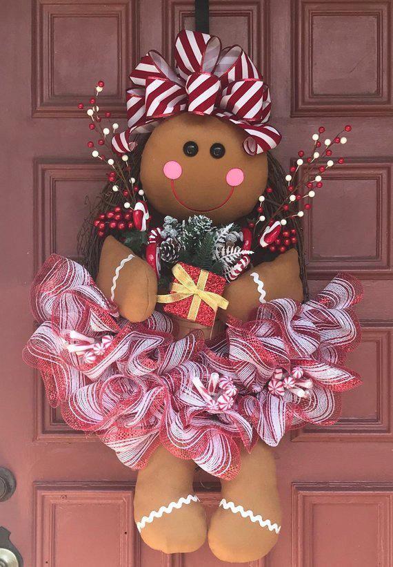 gingerbread girl wreath christmas wreath mifiestafavorita