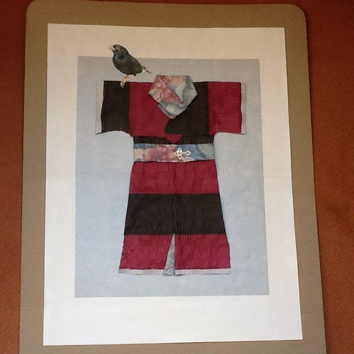 Collage - Kimono van lampionpapier en stof (Conny)