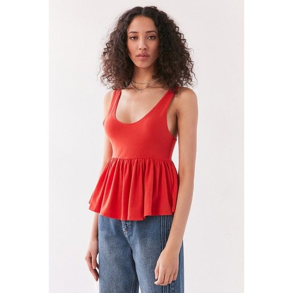 Truly Madly Deeply Annabella Peplum Tank Top ($34) ❤ liked on Polyvore featuring tops, low top, red peplum top, red tank top, red singlet and peplum tops