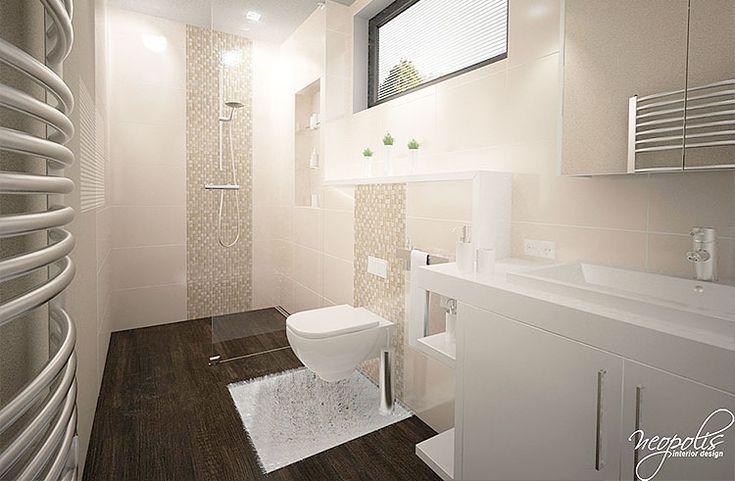 Kúpeľňa v obdĺžnikovom pôdoryse prakticky navrhnutá na tri funkčné zóny… Viac náhľadov tejto vizualizácie na: Kupelnovy-manual.sk