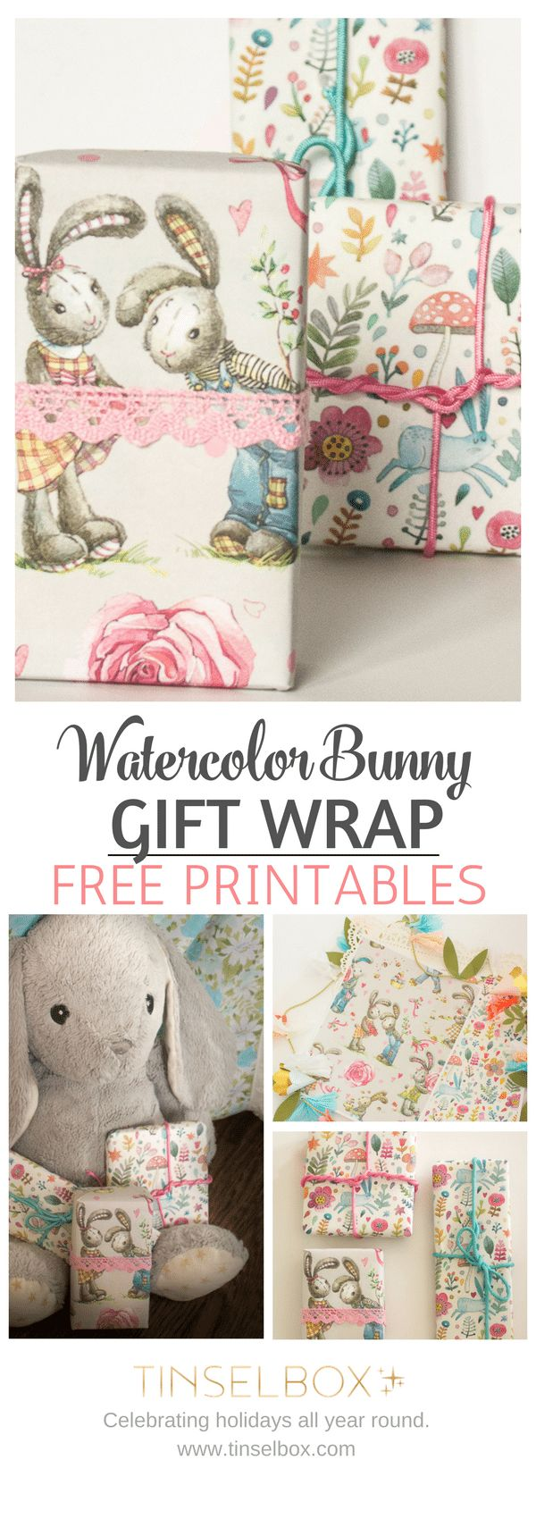 145 best easter images on pinterest easter recipes easter food sweet watercolor bunny gift wrap free printable negle Images