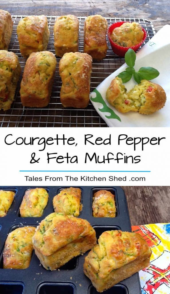 Courgette, Roasted Red Pepper & Feta Muffins - delicious savoury muffins packed with Mediterranean flavour! Perfect for picnics & lunch boxes or even breakfast.