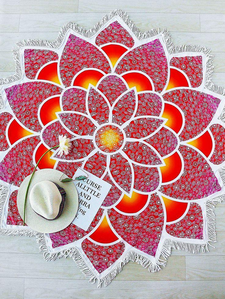 Manta playera en forma de lotus ribete de flecos - rojo -Spanish SheIn(Sheinside)