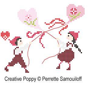 Perrette Samouiloff - Les petits Amoureux (grand modèle)(point de croix)