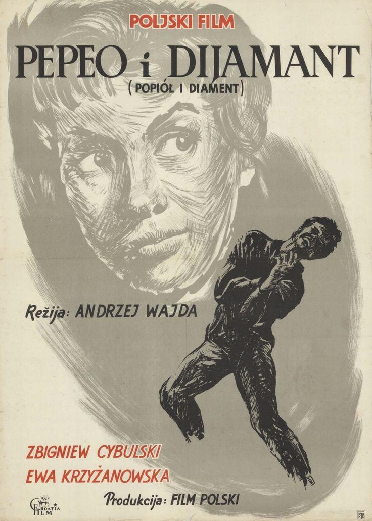 Yugoslavian poster for ASHES AND DIAMONDS / Popiół i diament (Andrzej Wajda, Poland, 1958)