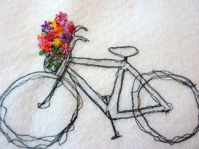 Free machine stitch with hand stitched flowers