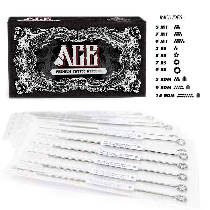 50 Mixed Assorted Tattoo Needles 10 Sizes - Round Shader 3 5 7 9 11 15 RS RM