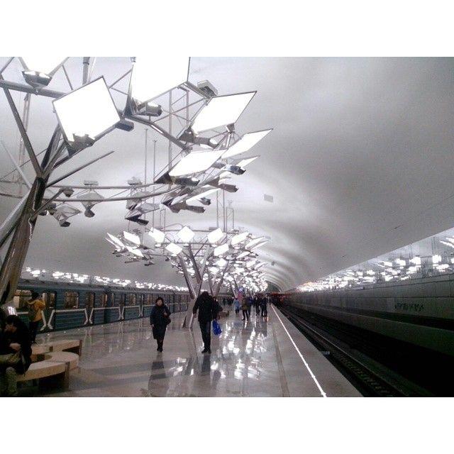 @rc_apps #rcnocrop #Москва . Недавно открытая станция красной ветки #Тропарёво . После встречи с приятельницей решила заехать сюда и осмотреться. Что могу сказать - станция очень приятная, мягкая по ощущениям. Я с удовольствием обошла всю платформу с хрустальными деревьями)) #метро #станция #платформа #деревья #свет #metro #mosmetro #Moscow #station #platform #trees #glass #light