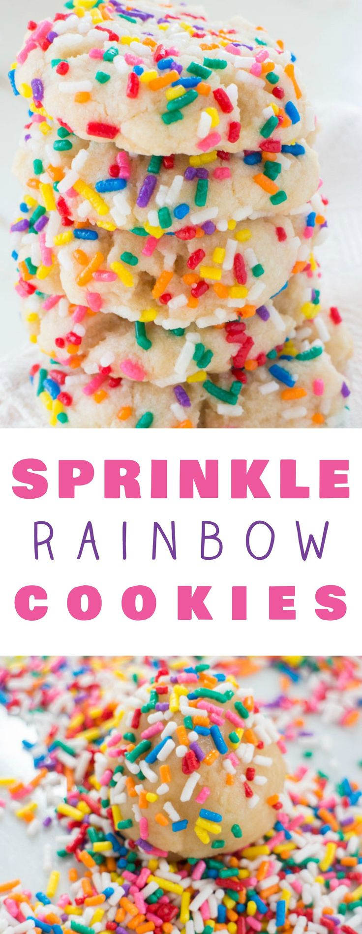 Rainbow Sprinkled Butter Cookies! These delicious cookies are easy to make and uses evaporated milk to make the cookies extra soft! They melt in your mouth! Roll them around in colored sprinkles to make them more fun! These cookies have so many reviews online for being the best!