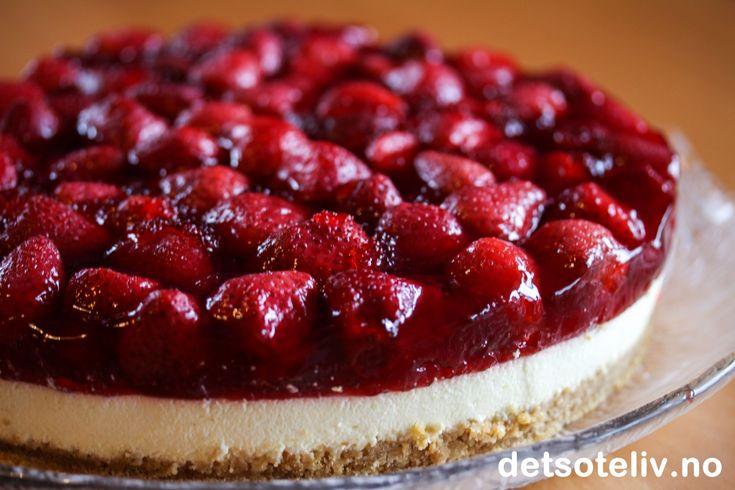 Ostekake med jordbær | Det søte liv