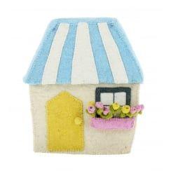 Fiona Walker England Large Felt House with Flowers Freestanding / Wall Mountable