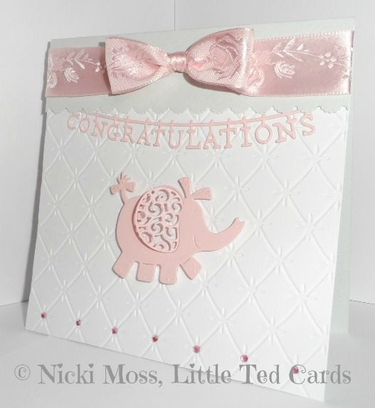 "Made by Nicki Moss - ""A cute and simple baby card using the Quilted Cushion embossing folder, plus the Congratulations Washing Line and Baby Elephant dies."" #tatteredlace #cardmaking #newbaby"