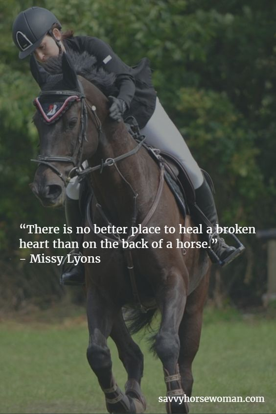 """""""There is no better place to heal a broken heart than on the back of a horse."""" - Missy Lyons. """""""