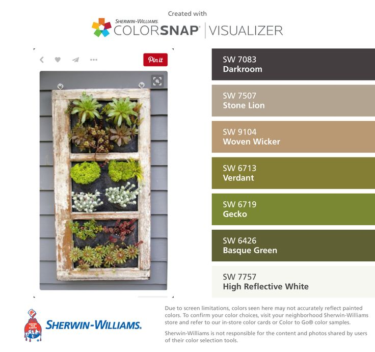 Visualizer for iPhone by Sherwin Williams  Darkroom  SW Stone Lion  SW  Woven Wicker  SW Verdant  SW Gecko  SW Basque Green  SW High Reflective  White  SW. 17 Best images about Paint on Pinterest   Paint colors  Craftsman