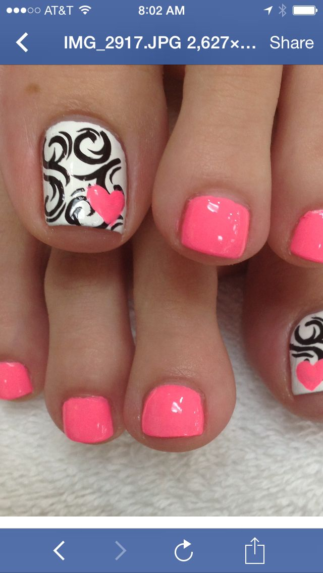 Summer toes - hot pink, white and black. So pretty. What is this shade of pink? I love it. #nailart #summer #pedicure