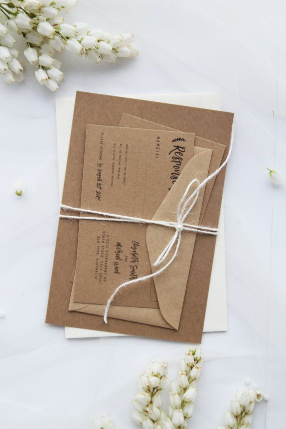 White Twine and Pearls Rustic Wedding Invitation Sets