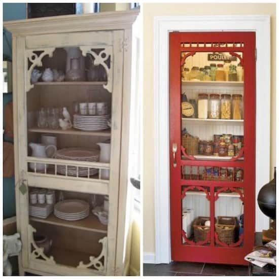 Projet déco : transformez les vieilles portes moustiquaire en porte pour le garde-manger de votre cuisine