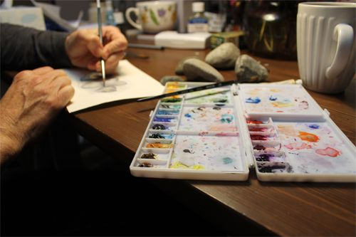 Working on a watercolour painting in my studio. (Kathleen Maunder)