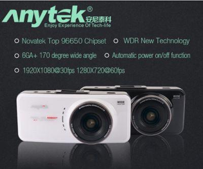 Anytek AT66A. Новатэк.; Автомобильный ВИДЕОРЕГИСТРАТОР. Full HD, 96650, 170 градусов, 6 Г объектив, ночного видения. Автомобильная камера. Черный ящик.