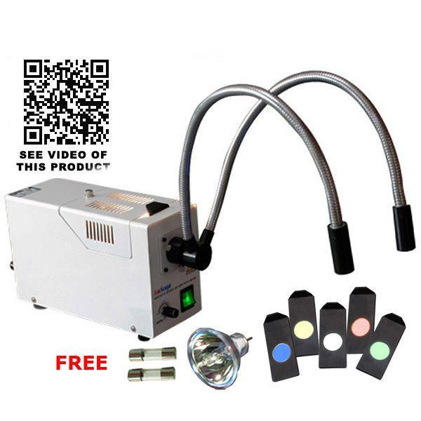 GX-301+ Gooseneck Fiber Optic Microscope Illuminator +Color Filters