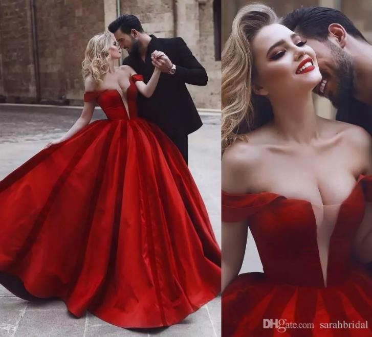 Romantic Off Shoulder Red Sexy Wedding Dresses Corset Bridal Gown Size 4 6 8 10