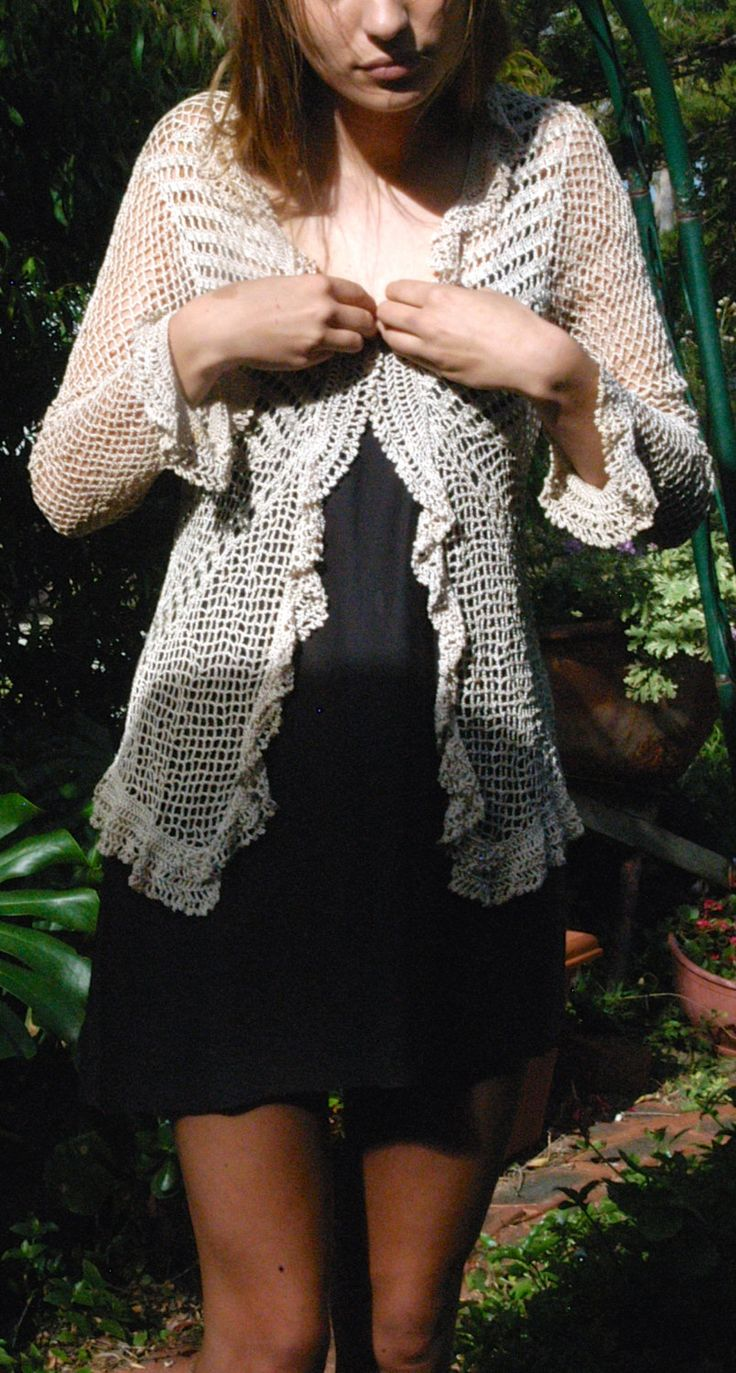 Hand Crocheted Cardigan - Beaded with draped frill:  Vintage Item by TheBusyTipsyGipsy on Etsy
