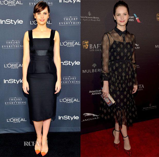 Felicity Jones In Alexander McQueen & Erdem – InStyle's Golden Globe Nominations Party & 2015 BAFTA LA Tea Party