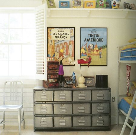 love the lockers and Tintin posters.Bedrooms Boys, Boys Bedrooms, Metals Lockers, Kids Room, Children Room, Boy Rooms, Industrial Style, Boys Room, Bedroom Boys