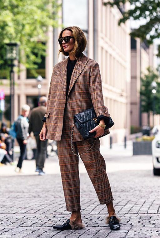 Image result for plaid blazer fashion week 2019 street style