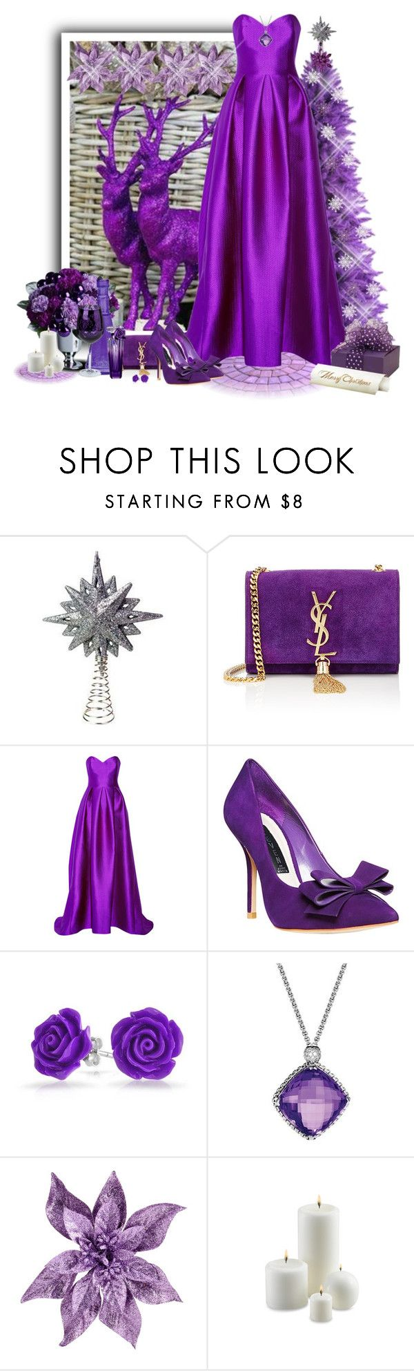 """natal em roxo"" by sil-engler ❤ liked on Polyvore featuring Yves Saint Laurent, Lela Rose, Steven by Steve Madden, Bling Jewelry, David Yurman and Bico"