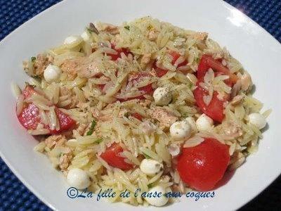Salade d'orzo et thon (Dans cette recette je change le saumon pour le thon)