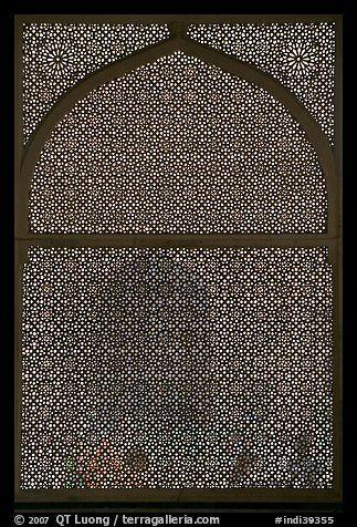 Jali (marble lattice screen) in Shaikh Salim Chishti mausoleum. Fatehpur Sikri, Uttar Pradesh, India