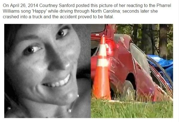 C3: No matter how delightful or appropriate a song might be, Courtney Sanford was a tragic example of the need to keep your eyes on the road at all times.  What went from a charming, ill advised photo to match her love for music ended in a terrifying collision that ended her life.