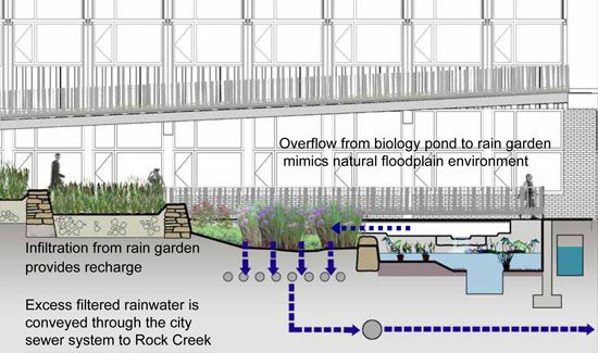 Flow diagram of stormwater runoff from pond to rain for Garden pond overflow design