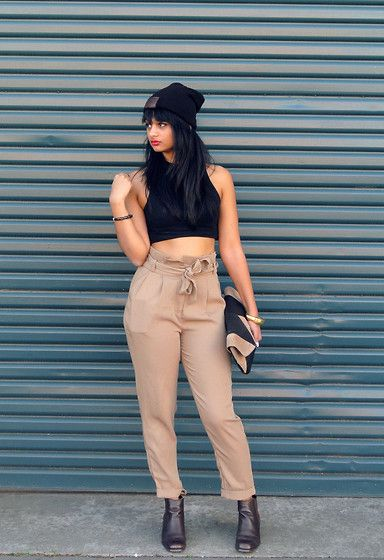 Balla Apparel Beanie, Topshop Crop Top, Chicabooti High Waisted Pants, Target Clutch, Savers Boots