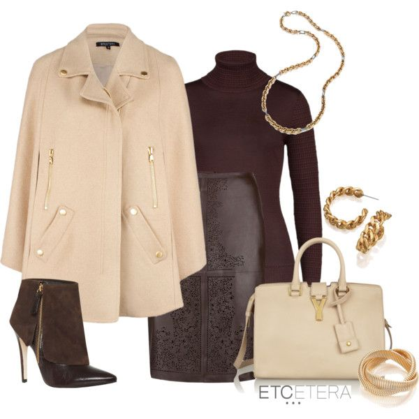 Etcetera's 'Sparkle' cape, 'Laser' leather skirt, 'Molasses' turtleneck, 'Gaby' necklace and 'Whitney' bracelet. Fall Collection.