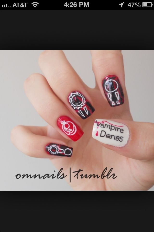 The Vampire Diaries nail design. Love this!!