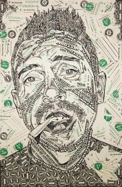Art from money collages made out of cut up dollar bills