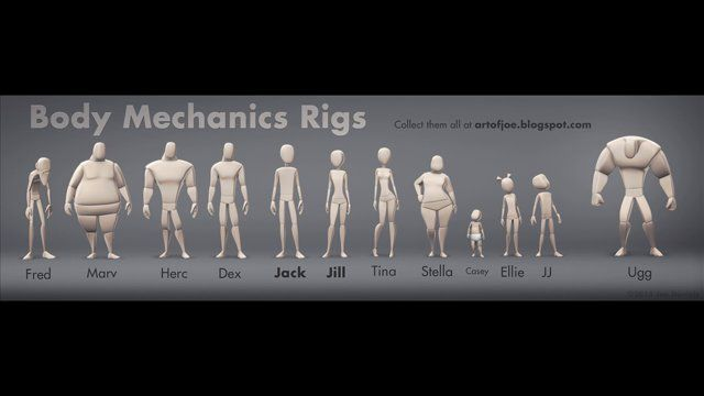 Here is a pack of 12 rigs, designed to be used for honing in those body mechanics and acting skills. Check them out at: http://artofjoe.blogspot.com/p/blog-page.html These rigs are for educational and non-commercial character animation use. They are not a rigging tool. If you want a robust and fast character setup tool, I recommend checking out Rapid Rig Advanced: http://www.creativecrash.com/maya/script/-rapid-rig-advanced-auto-rig-for-maya Cheers, Joe