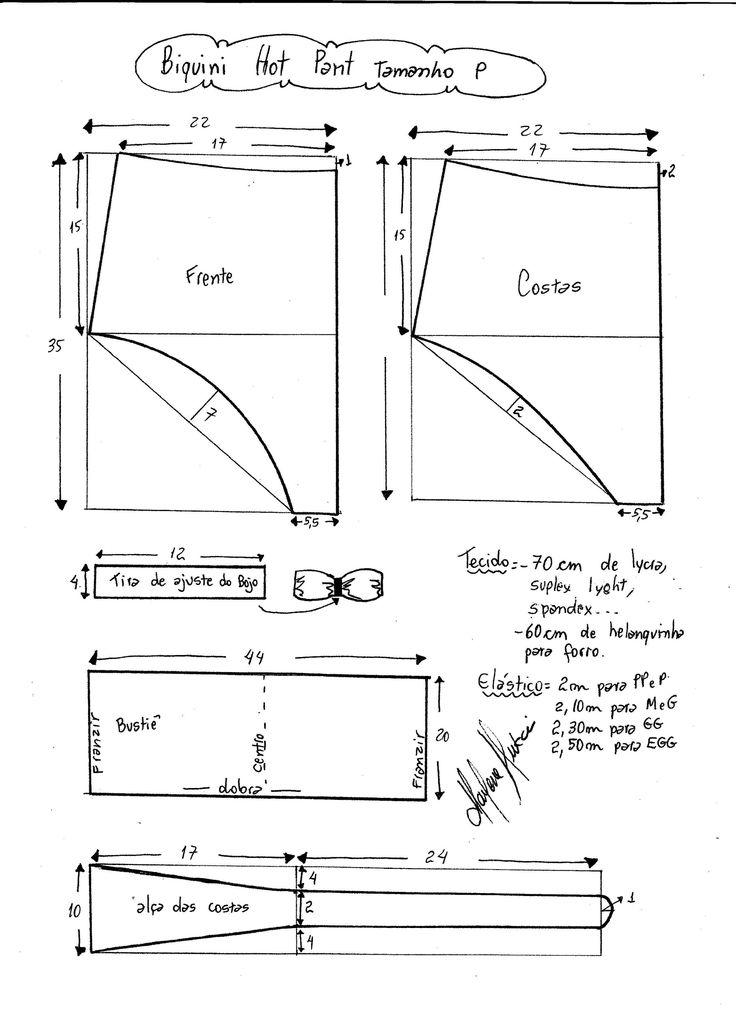 Esquema de modelagem de biquíni hot pant tamanho P.