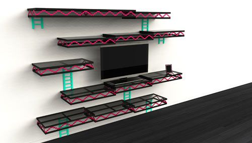Los Angeles-based designer Igor Chak was inspired by the video game Donkey Kong when he designed these 8-bit wall shelves that resemble the game's levels.Games Room, Donkeykong, Videos Games, Kong Wall, Wall Shelves, Donkeys Kong, Kong Shelves, Christmas Gift, Donkey Kong