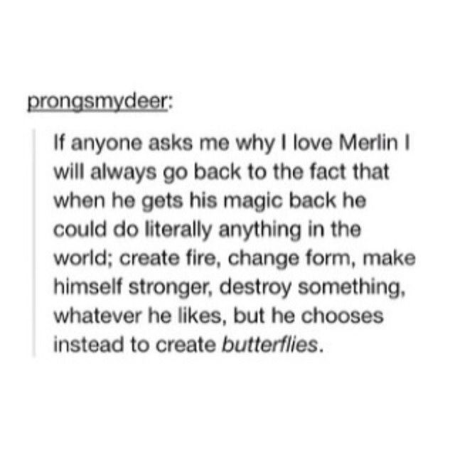 """...he chooses instead to create butterflies."""