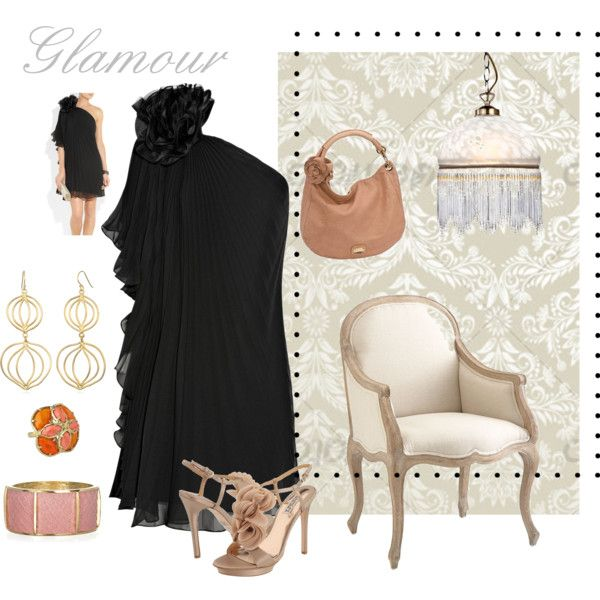 glamorous night by ldavidsonm on Polyvore featuring moda, Notte by Marchesa, Badgley Mischka, Jimmy Choo, Kara Ross, Wendy Mink, Kendra Scott and Litecraft